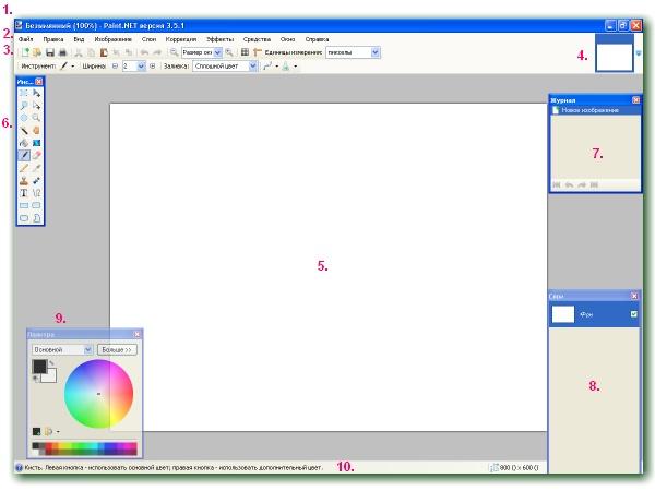 Вікно програми Paint.NET - уроки малювання в Paint.Net
